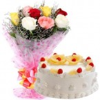 send 500gms pineapple cake with mix roses bunch delivery