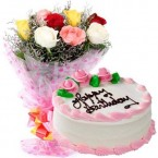 send 500gms Strawberry Cake with Mix roses Bunch  delivery