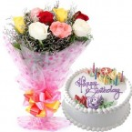 send 500gms Vanilla Cake with Mix roses Bunch  delivery