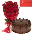 send Red Rose Bouquet and Birthday Cake Card delivery