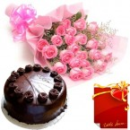 send Eggless Chocolate Truffles Cake with Pink Roses Bunch and Card delivery