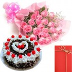 send  Eggless Black Forest-Cake with Pink Roses Bunch Card delivery