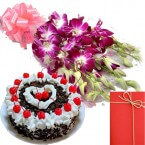 send Orchid Bunch with Black Forest Cake Greeting Card delivery