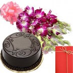 send Orchid Bunch with Eggless Chocolate Truffles Cake Card delivery