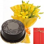send Yellow Lilies Bunch with Eggless Chocolate Truffles Cake Greeting Card delivery