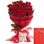 send Designer Bouquet of 20 Red Roses delivery