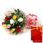 send 10 Mix Roses Bunch with Greeting Card delivery