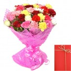 send Mix Roses and Carnation Bunch with Card delivery