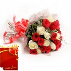 send Bunch of Red and White Roses with Card delivery