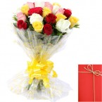 send 15 Mix Roses Bunch and Card delivery