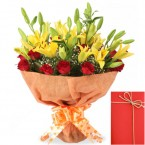 send lilies roses bouquet with Greeting Card delivery