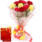 send Mix Carnations bunch with Greeting delivery