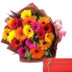 send 20 Mix Gerberas Bouquet with Card delivery