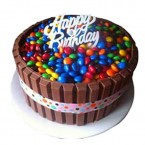 send Chocolate Kitkat with Gems Cake delivery