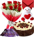 send 500gms Black Forest Cake Teddy Bear Chocolate Red Roses Bouquet Greeting Card delivery