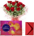 send Red Roses Bouquet with Cadbury Celebrations Chocolate Box delivery