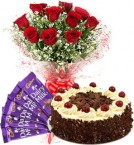 send Black Forest Cake Half Kg Red Roses Bouquet n Chocolate  delivery