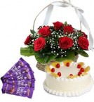 send Half Kg Pineapple Cake Red Roses Basket n Chocolate  delivery