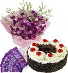 send Black Forest Cake Half Kg Orchids Bouquet n Chocolate  delivery
