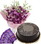 send Chocolate Cake Half Kg Orchids Bouquet n Chocolate delivery