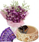 send Butterscotch Cake Half Kg Orchids Bouquet n Chocolate  delivery