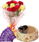 send Butterscotch Cake Half Kg Carnations Bouquet n Chocolate  delivery