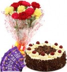 send Black Forest Cake Half Kg Carnations Bouquet n Chocolate delivery