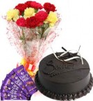 send Chocolate Cake Half Kg Carnations Bouquet n Chocolate delivery