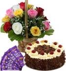 send 1Kg Black Forest Cake Mix Roses Basket n Chocolate  delivery