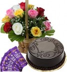 send 1Kg Chocolate Cake Mix Roses Basket n Chocolate delivery