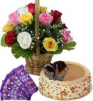 send 1Kg Butterscotch Cake Mix Roses Basket n Chocolate  delivery