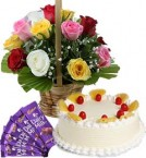 send 1Kg Pineapple Cake Mix Roses Basket n Chocolate delivery