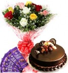 send 1Kg Chocolate Cake Mix Roses Bouquet n Chocolate delivery