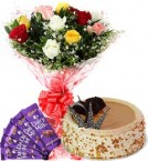 send 1Kg Butterscotch Cake Mix Roses Bouquet n Chocolate delivery