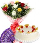 send 1Kg Pineapple Cake Mix Roses Bouquet n Chocolate delivery