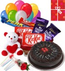 send Chocolate Traffle Cake N Chocolate Teddy Balloons For Any Time delivery