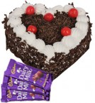 send 1kg Heart Shape Black Forest Cake N Chocolate delivery