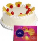 send Pineapple Cake Half Kg N Cadbury Celebrations Chocolate Gift delivery