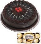 send Chocolate Truffle Cake Half Kg N Ferrero Rocher Chocolate Gift delivery