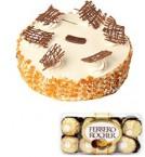 send Butterscotch Cake Half Kg N Ferrero Rocher Chocolate Gift Box delivery