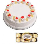 send Pineapple Cake Half Kg N Ferrero Rocher Chocolate Gift Box delivery