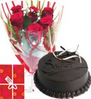 send Eggless Chocolate Truffle Cake Half Kg with Red Roses bunch Combo delivery