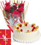 send Pineapple Cake Half Kg with Red Roses bunch Combo  delivery