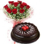 send Eggless Chocolate Traffle Cake N Red Roses Bouquet delivery