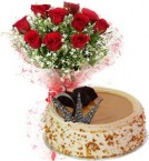 send Eggless Butterscotch Cake N Red Roses Bouquet delivery