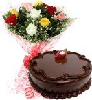 send Eggless Chocolate Traffle Cake N Mix Roses Bouquet delivery