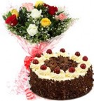send Eggless Black Forest Cake N Mix Roses Bouquet delivery