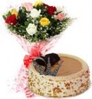 send Eggless Butterscotch Cake N Mix Roses Bouquet delivery