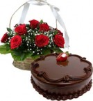 send Eggless Chocolate Traffle Cake Half Kg N Red Roses Basket delivery