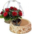 send Eggless Butterscotch Cake Half Kg N Red Roses Basket delivery